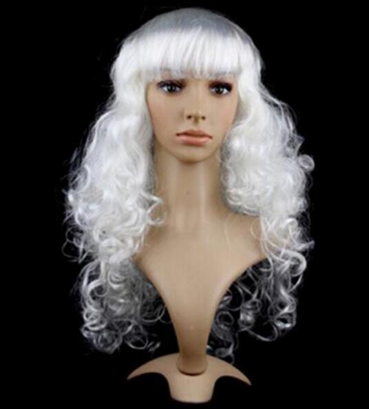 무료 배송 + + 여성 긴 컬리 물결 모양의 머리카락 합성 애니메이션 코스 프레 파티 전체 가발 흰색 색상