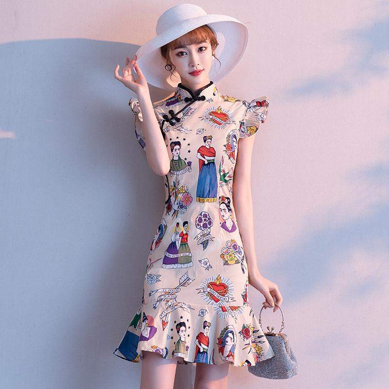 Qipao young women's dress, small, fragrant, summer fish tail short-style figure-flattering