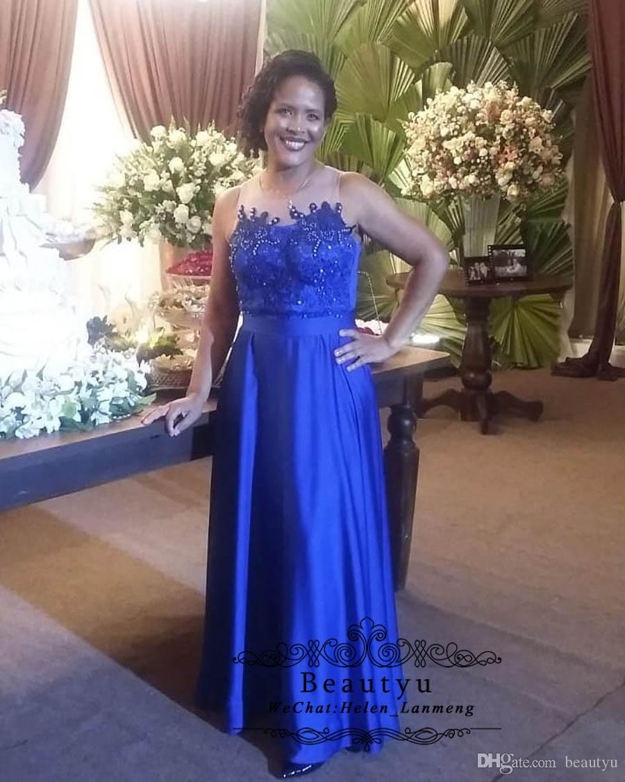 Royal Blue Mother Of The Bride Dresses Sheer Neck Beaded Lace Long A Line  Plus Size Cheap Women Formal Gowns Wedding Party Dress Mother Of The Bride  ...