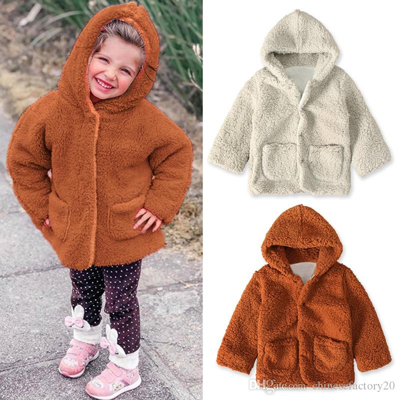 Kid Winter Coat Ins Baby Girl Long Sleeves Fleece Thick Warm Hooded Coat With Pockets New 2020