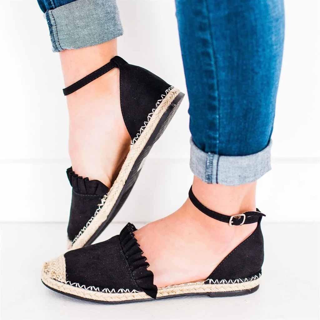 Sandalias de las señoras 2019 nuevos zapatos de mujer de moda retro zapato plano zapatos casuales de paja de lino hebilla de la colmena bombas Sandalia Feminina