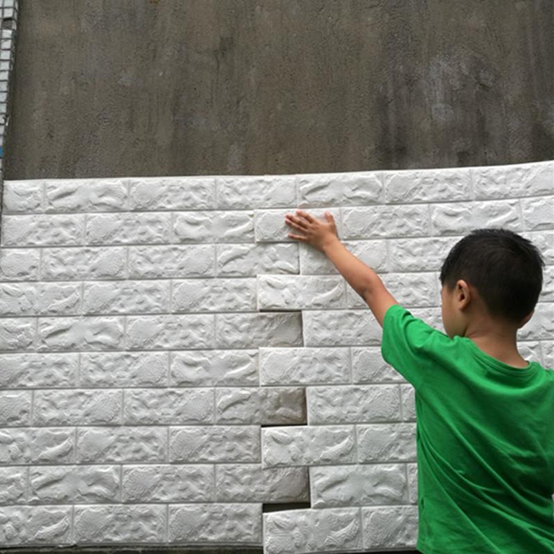 Wallpaper Schiuma di 10pcs 3D Brick Wall Stickers Soggiorno fai da te PE Pannelli in camera decalcomania della Pietra di decorazione in rilievo sfondi poster