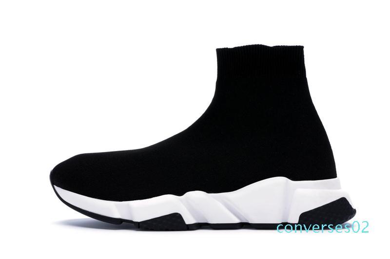 2019 Tasarımcı Sneakers Hız Eğitmen Runner Siyah Kırmızı Top Kalite Üçlü Siyah Moda Düz Çorap Çizme Günlük Ayakkabılar Boyut 36-48 L02 CO02
