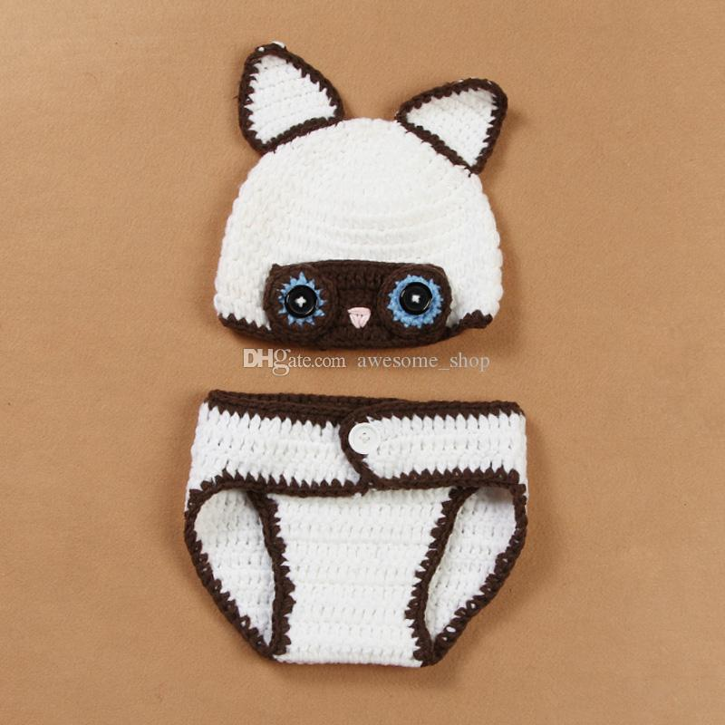 Adorable Baby Fox Newborn Outfits,Handmade Knit Crochet Baby Boy Girl Animal Fox Beanie and Diaper Cover Set,Infant Halloween Photo Prop