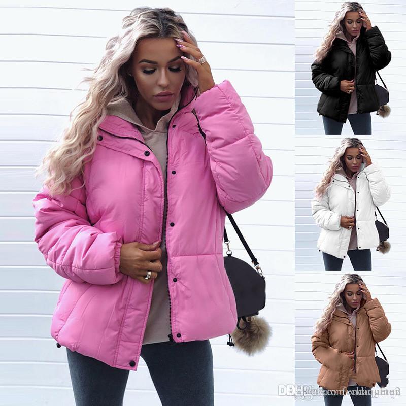 Зимних женщины конструктора способ куртки Сладкого сплошной цвет Стенд воротник короткого пиджак Утолщенные Теплые женщины пальто