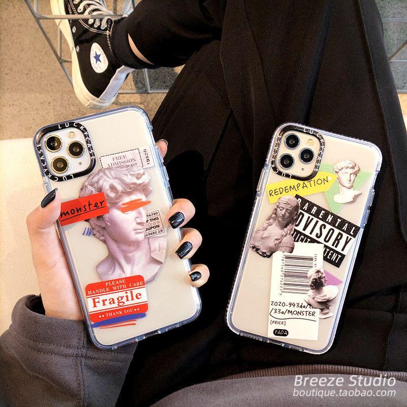 iphone David basit, şeffaf silikon telefon kapağı kasanın Sıcak Trend Etiket Barkod Durum 11 Pro Max X XR XS 7 8 6S artı