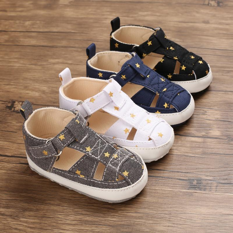 Newborn Infant Unisex Baby Girl Boy Sandals Summer Toddler Walking Shoes Soft Anti-Slip Sole Blue Solid Crib First Walker Shoes