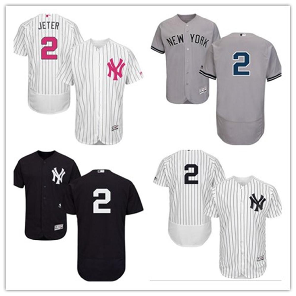 사용자 정의 무료 배송 야구 유니폼 뉴욕 2 데릭 지터 새로운 YorkYankees 양키 남성 여성 청소년 흰색 고품질의 유니폼을 빨간색