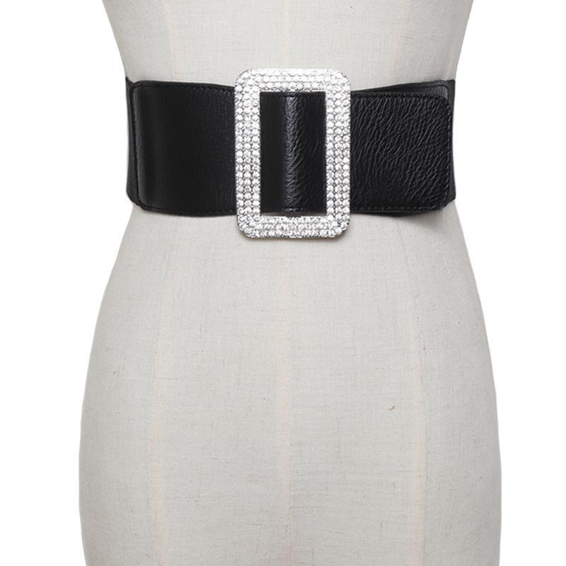 cristal de luxe femelles femmes élastiques larges de ceinture mariée strass grandes ceintures de boucle en métal ceinture de sangle de robe Ceinture