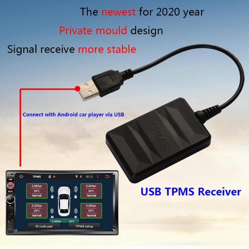 TPMS USB de presión de neumáticos USB Monitor del sistema TPMS sensor automático de alarma externa del módulo sensor con 4 sensores para el coche