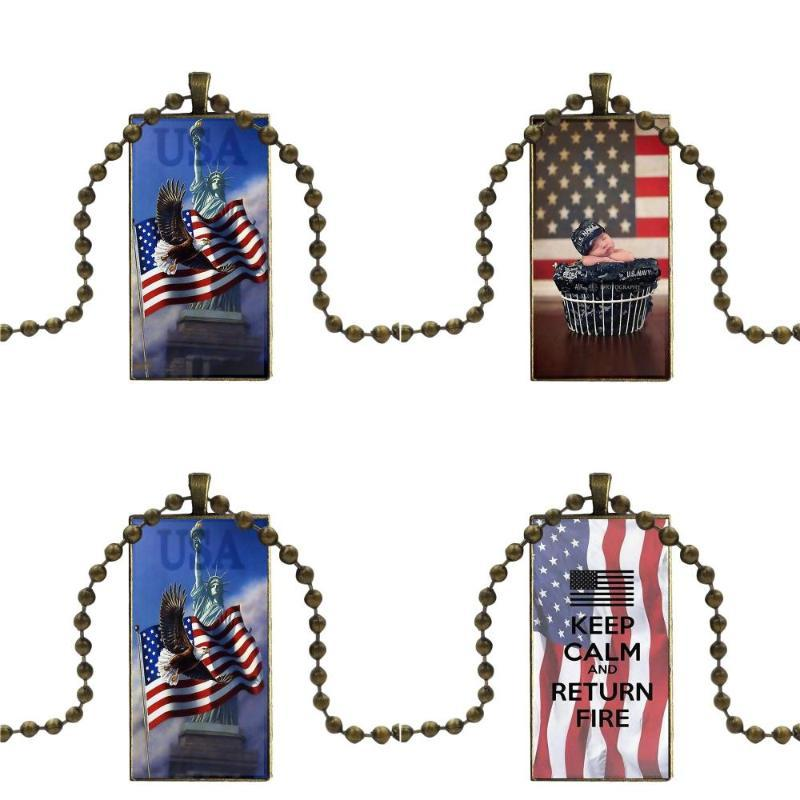 For Girls Handmade Gift Us Army Usa Flag Proud Necklace Fashion Long Chain With Rectangle Necklace Jewelry