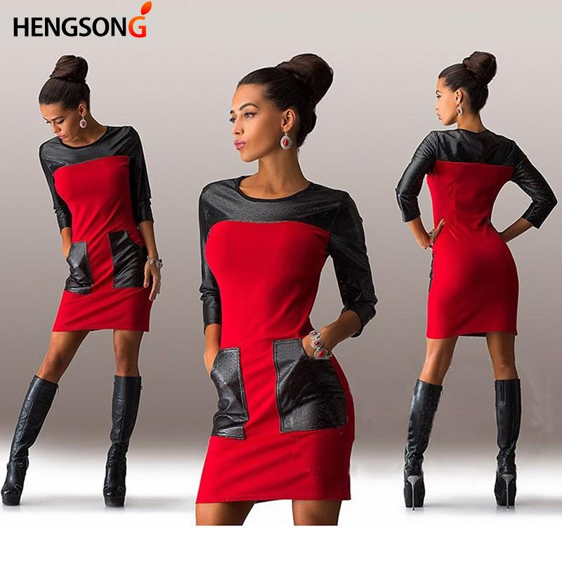 Moda Kadın Sonbahar Avrupa Ve Amerika Birleşik Devletleri New Pu Deri Ekleme İnce Paketi Kalça Elbise