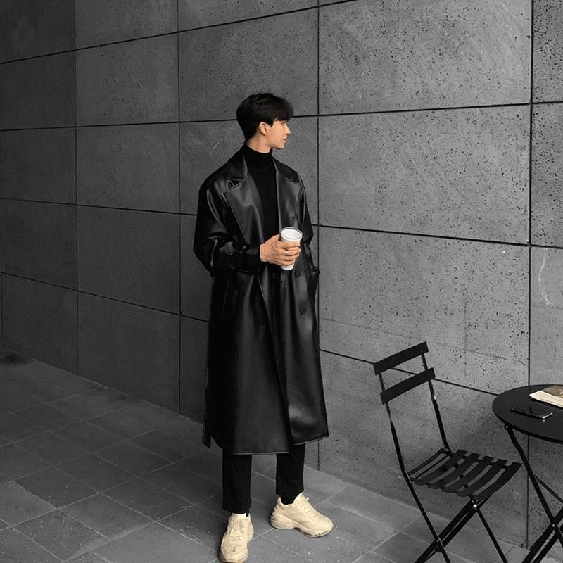 2020 new outumn and spring slim leather mens European And American trend long mens castrary windbreaker jacket
