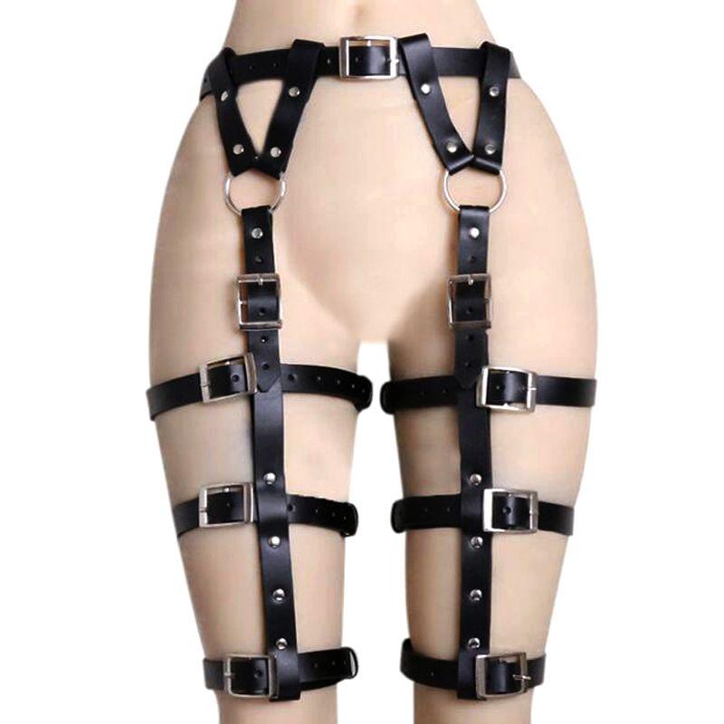 New women Waist Cincher Leather belts Thigh High Suspenders Garter Belt Leg Harness punk Sexy accessories Y200501