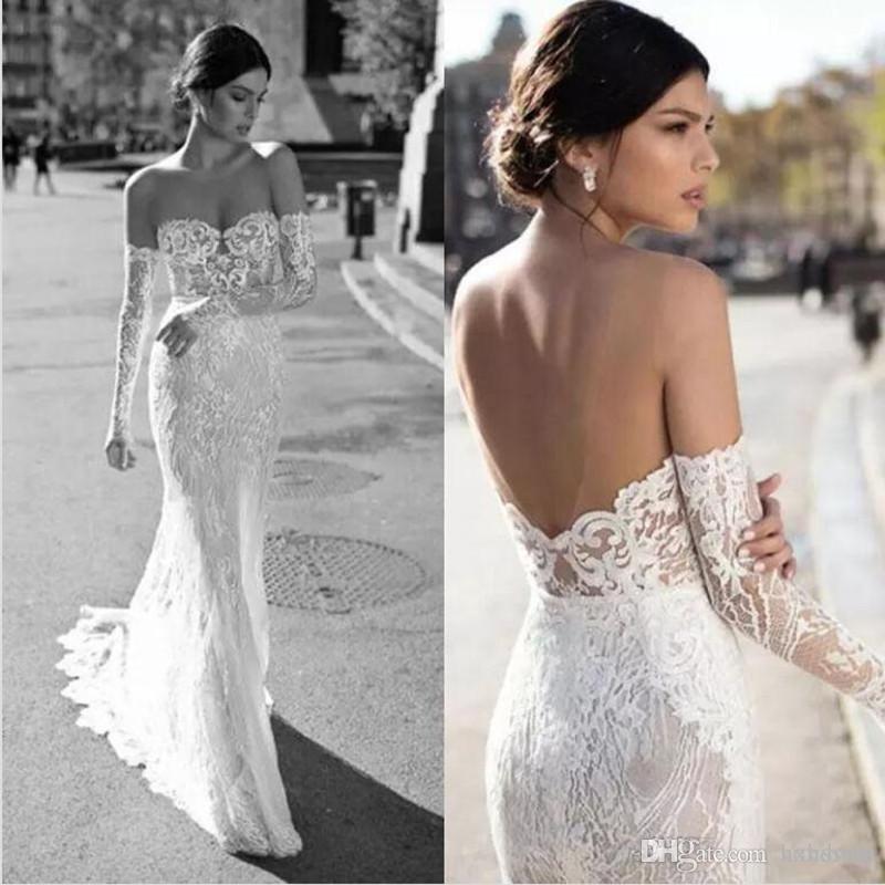 New Gali Karten sirène robes de mariée sexy à manches longues Sheer Décolleté Robes de mariée Custom Made Backless Robe de mariée Plus Size