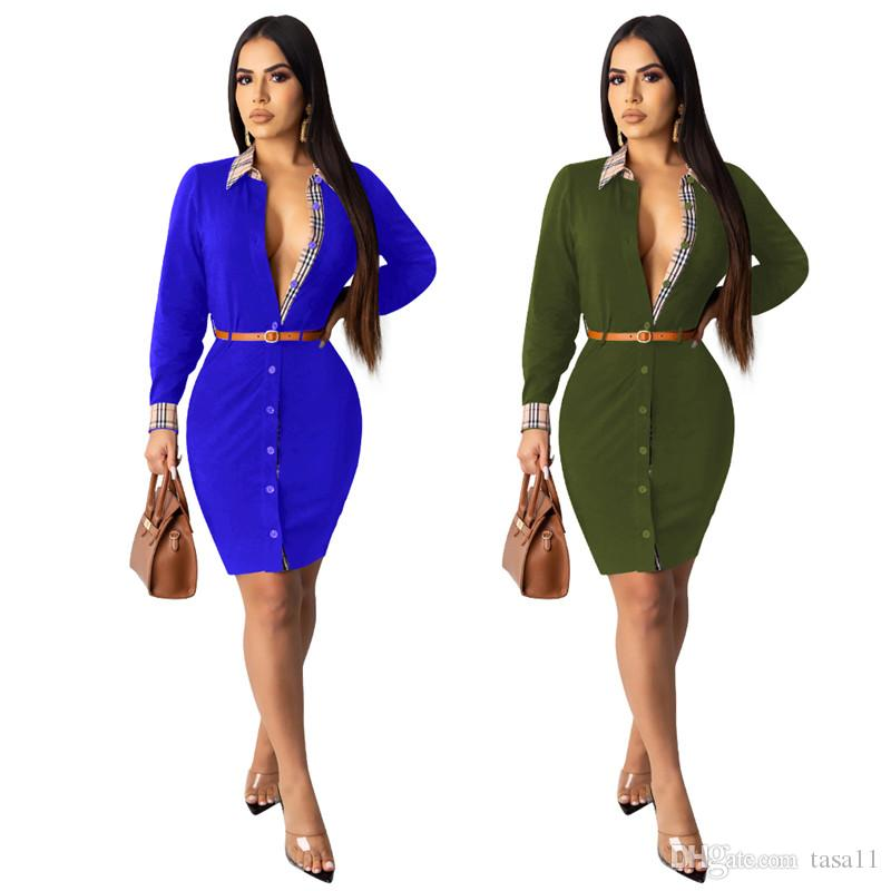 Women Business Dress Grid One Piece Dress With Belt Fashion Lapel Long  Sleeve Skirt Plus Size Skirt Fall Winter Package Hip Skirt DHL 2362 Gown  Casual ...