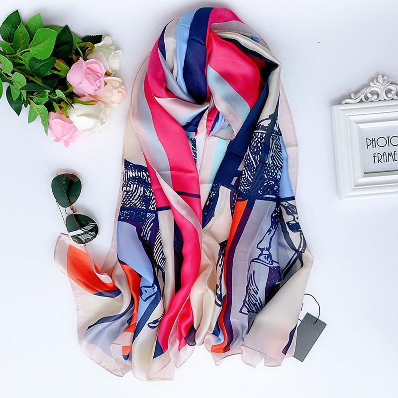 2019 señoras de la manera del mantón de protección solar clásica bufanda de la playa foulard silenciador pañuelo pañuelos de seda de las mujeres pareo femenina envoltura de gasa