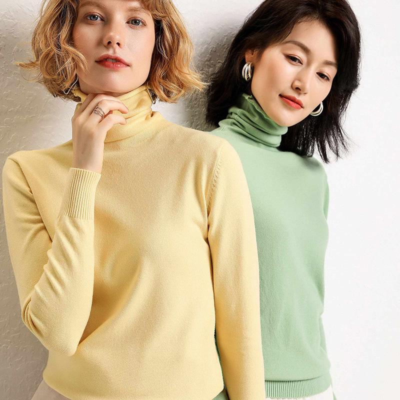 New cashmere pile pile high collar pullover solid color knitted high elastic autumn and winter solid color bottoming sweater