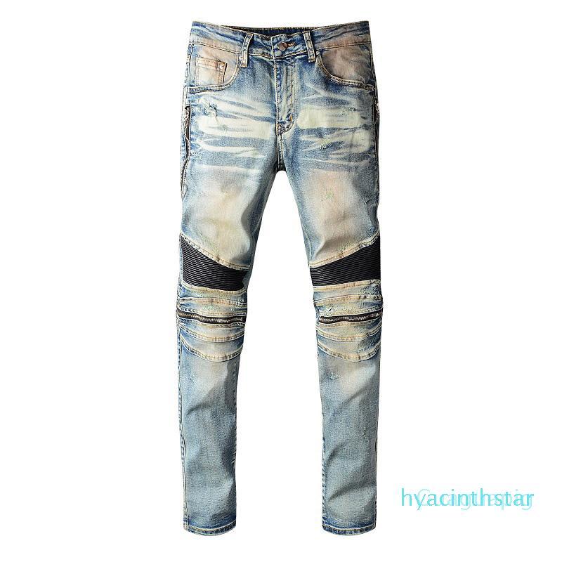Lujo de los hombres pantalones vaqueros del diseñador retro Hip Hop del motorista de los hombres pantalones vaqueros de alta calidad de los hombres cómodos pantalones azul Tamaño 28-40 rh9