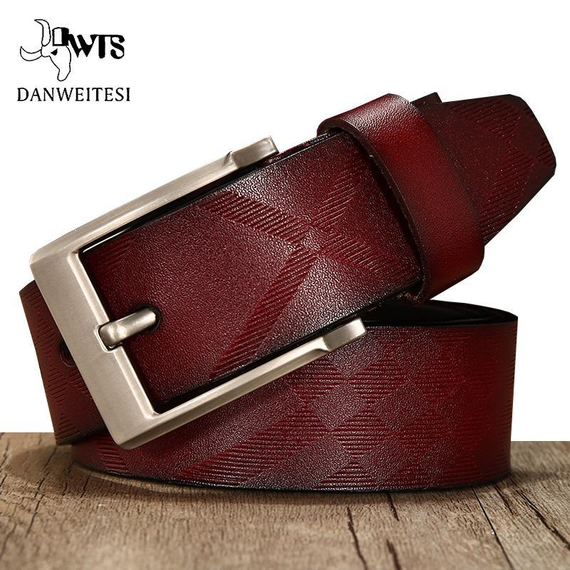 [DWTS] cinghia degli uomini del cuoio genuino di marca di alta qualità cinghie di cuoio genuine per gli uomini della pelle bovina del perno di modo della cinghia dei jeans fibbia