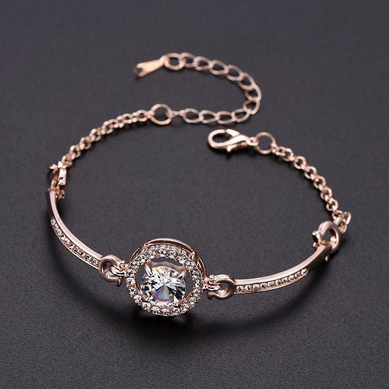 Femmes Strass Diamonds Bracelet Chaînes De Mode Charme Pendentif Bracelets Bijoux Saint Valentin Cadeau pour la petite amie