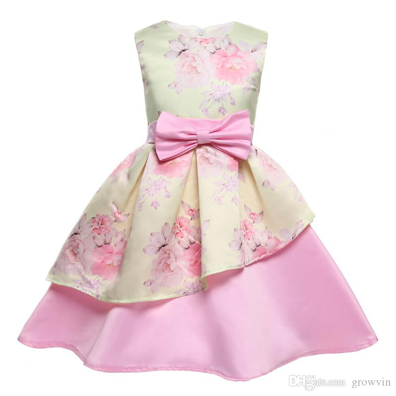2020 Spring And Summer Irregular Girls Dress Pendulum Printing Child Full Dress Children Bow Party Dresses 2--12T K318
