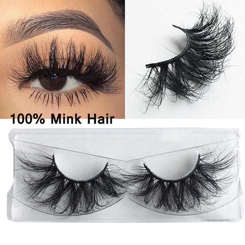 100% Echtes Nerz-Haar-Lashes 22-25 mm 3D Mink Wimpern lange volle natürliche Make-up Falsche Wimpern Criss-Cross Wispies Fluffy Wimpern Extensions