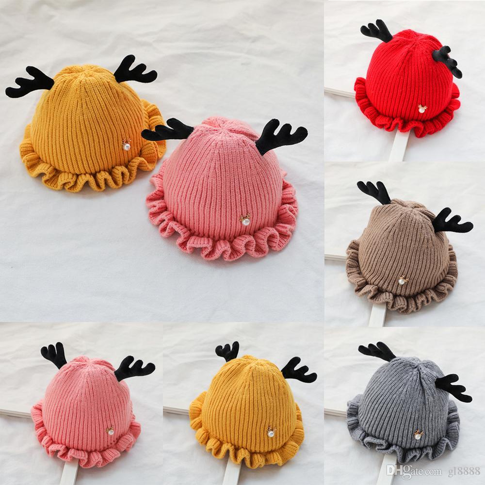 Newborn Handmade crochet Baby Girls Boys Antlers Hats Winter Xmas Cap 6-28M Kids Warm Knitted Beanie