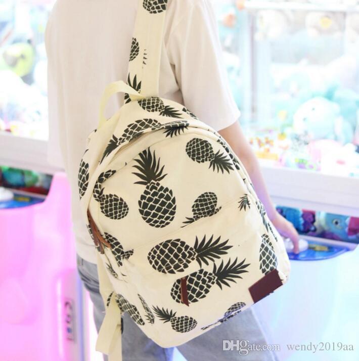 DHL 50PCS New School Bolsas Mulheres Student Canvas Abacaxi Impresso grande capacidade mochila de viagem sacos de armazenamento