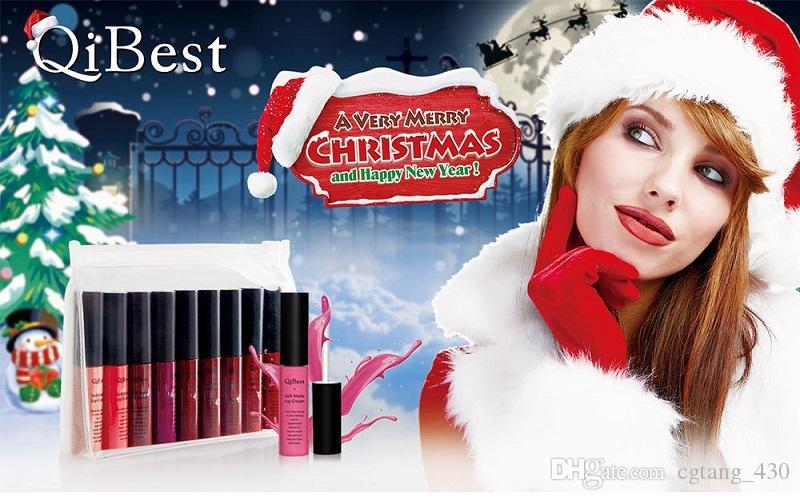 Для губ qibest Рождество ограниченным тиражом блеск для губ набор матовая жидкая губная помада набор антипригарным Кубок блеск для губ Рождественский подарок DHL бесплатно
