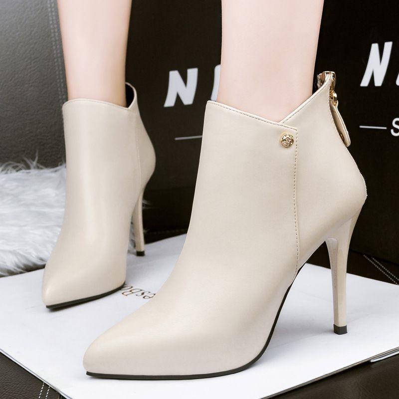 Kadınlar için Sıcak Satış Sonbahar kış ayak bileği botlar seksi yüksek topuklu ayakkabılar bayanlar pu deri mujer siyah kırmızı ayak kısa botlar botas sivri