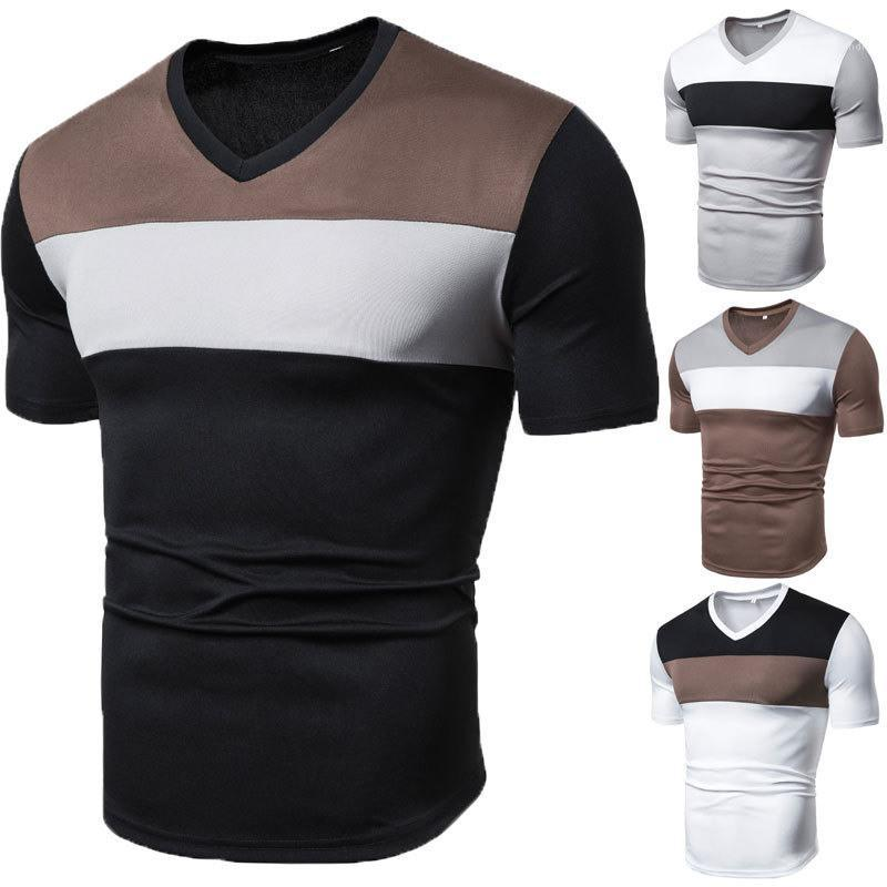 Slim Short Sleeve V Neck Pullovers Tops Casual Male Tees Patchwok Color Designer Mens Tshirts Casual