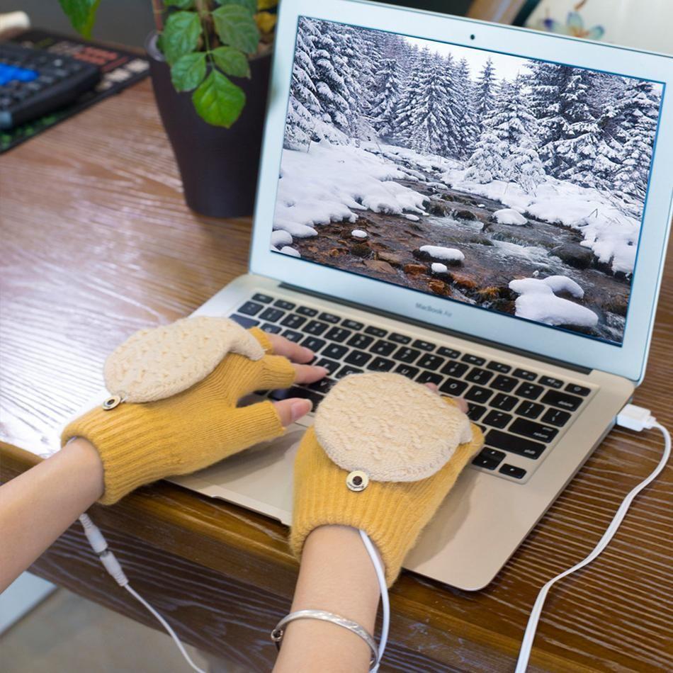 Kış USB şarjı Eldiven Erkekler Kadınlar Yün Elektrikli Eldiven Isıtma Kış Örgü Termal Sıcak femal Kızlar Eldiven Noel hediyeleri LJJA3518