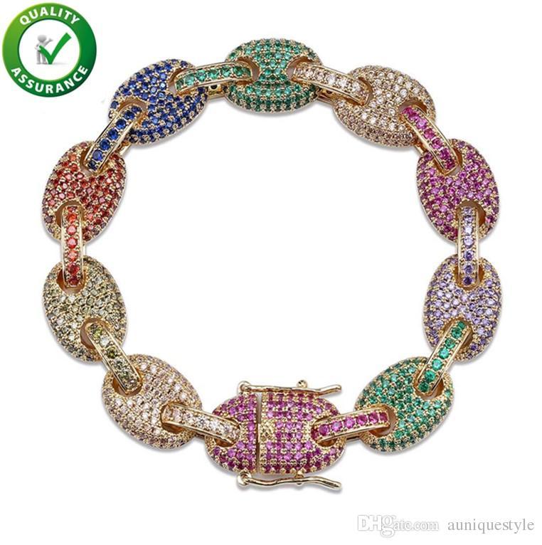 Hip Hop Designer Jewelry Mens Gold Bracelets Luxury Bangles Iced Out Diamond Tennis Bracelet Love Pandora Style 12mm Solid Link Chain Rock