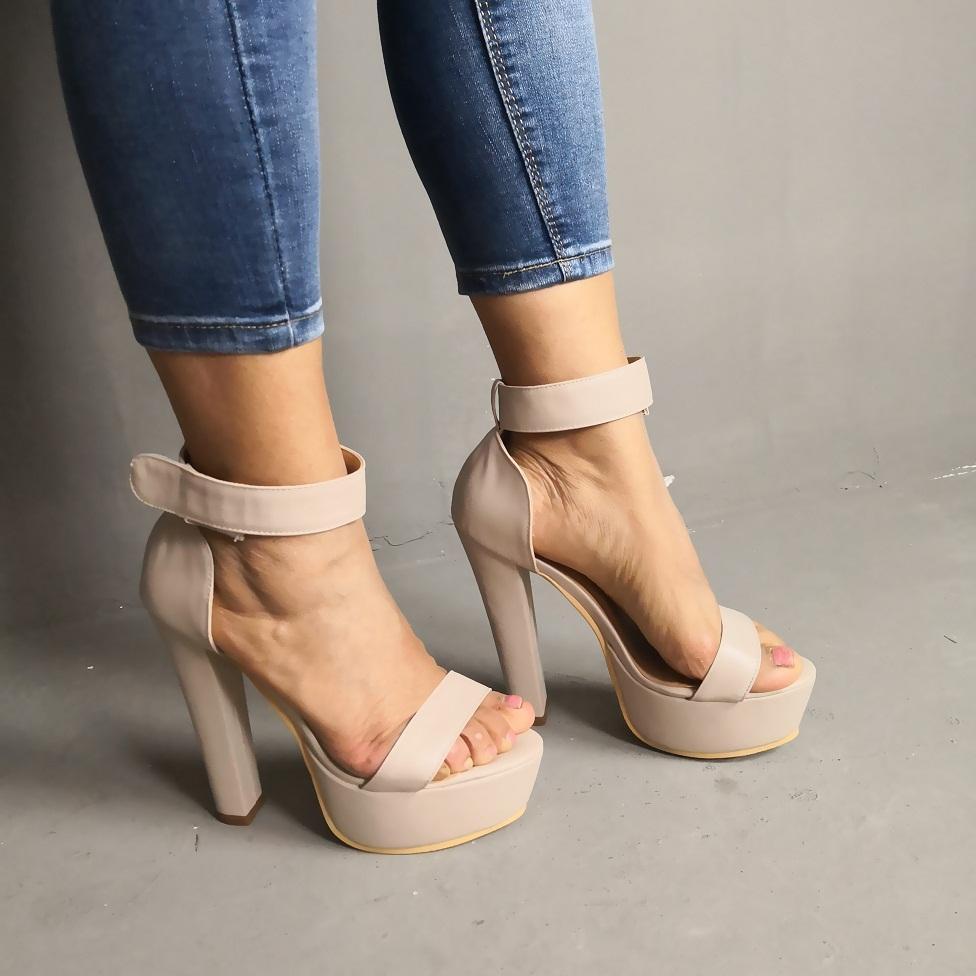 Womens Bloco Kolnoo Handmade sandálias salto real Fotos Shoes Sexy Dance Club de Verão com tira no tornozelo do vestido da forma Evening Sandals Shoes D306
