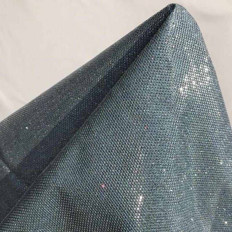 137CM Blue fluorescent weave reflective pu leather fabric dress coat sofa car diy textiles sequin fabric D179