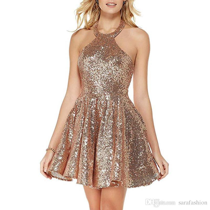 Sequins Short Bridesmaid Dresses with Halter Neckline 2020 Knee Length Party Dress Backless Prom Gowns Burgundy Rose Gold