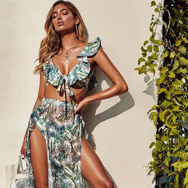 3pcs / set Bikini Jupe de plage pour la plage feuilles Tuniques longues Imprimer Couverture Bikini jusqu'à Robe de Plage Sarong Plage Maillot de bain dissimulations