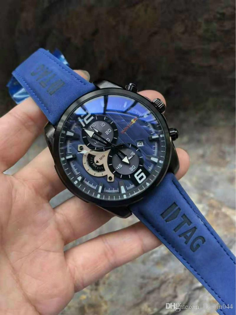 Luxus 2 Zeitzone TAG Herrenuhr New Arrivals Außensportarmbanduhr Multifunktions-Quarz-Uhr-Marken-Uhren Top-Chronograph Qualität