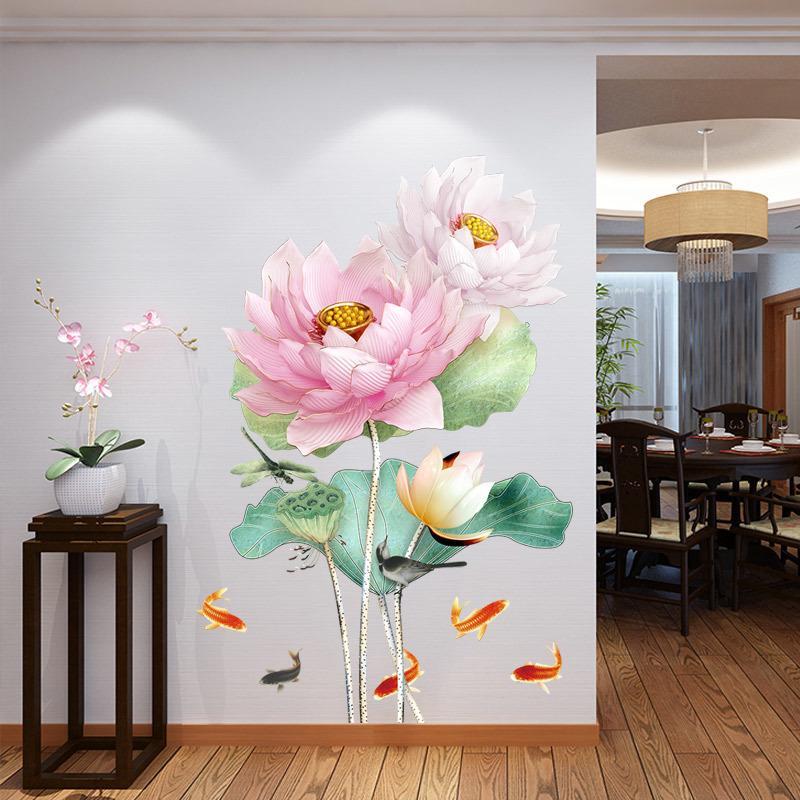 중국 스타일 연꽃 3D 배경 화면 벽 스티커 거실 욕실 홈 인테리어 포스터 Y200103