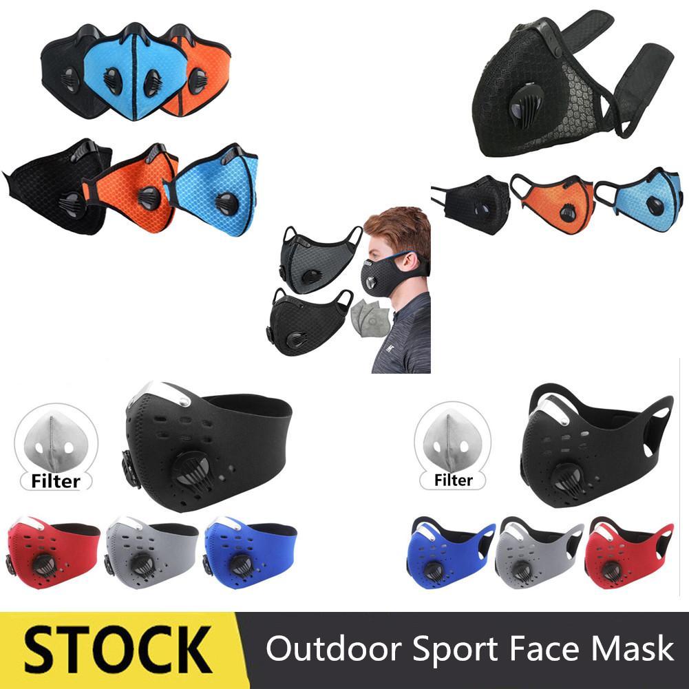 STOCK extérieur Sport Vélo Cyclisme anti-poussière Moto VTT Ski Half Face Mask Filtre anti-poussière bouche moufles Avec filtre