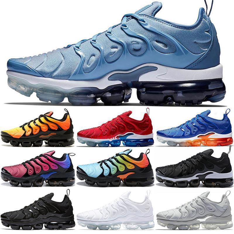 De plus TN Chaussures de course Hommes Femmes Hommes Chaussures Triple Noir Sunset Blanc Bleu travail athlétique Formateurs Sport Sneaker Taille 36-45