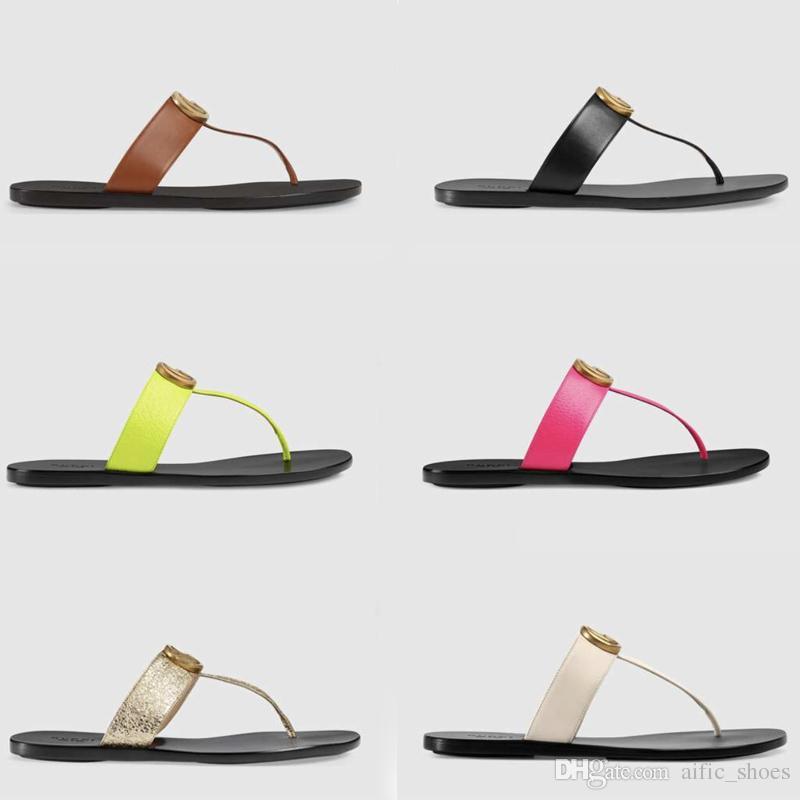 Lüks tasarımcı slaytlar Kadınlar çevirme Deri Kadın sandalet ile Çift Metal Siyah Beyaz Kahverengi terlik KUTUSU ile Yaz Plaj Sandalet