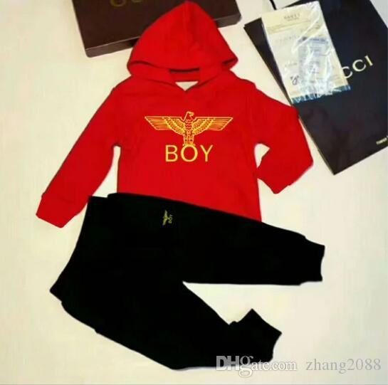 New Baby Infant Designer Clothes Set Bambini di marca Boy Girl Manica Lunga Con Cappuccio Top + Pants 2 Pz Vestiti di Modo Tuta Outfits