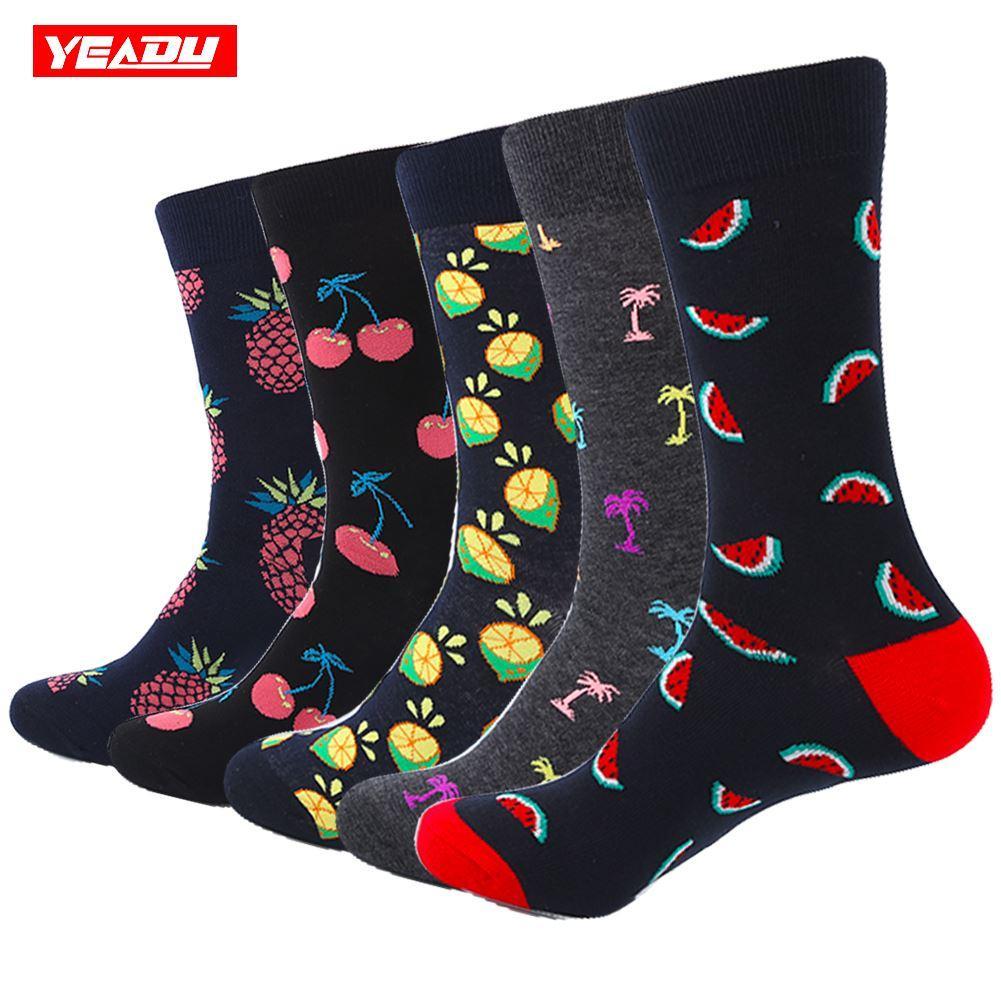 YEADU 5 Pair/Lot Men's Funny Socks Cotton Black Fruit Lemon Series Socks For Men Causal Dress Bright Multi-Color Wedding Gift