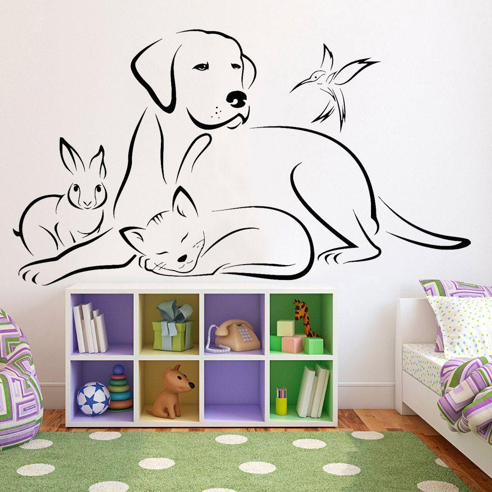 Hayvanlar Vinil Duvar Çıkartması Salon Köpek Kuş Kedi Veterinerlik Duvar Etiketler Evcil Hayvanlar Dükkanı Modern Ev Dekorasyon için