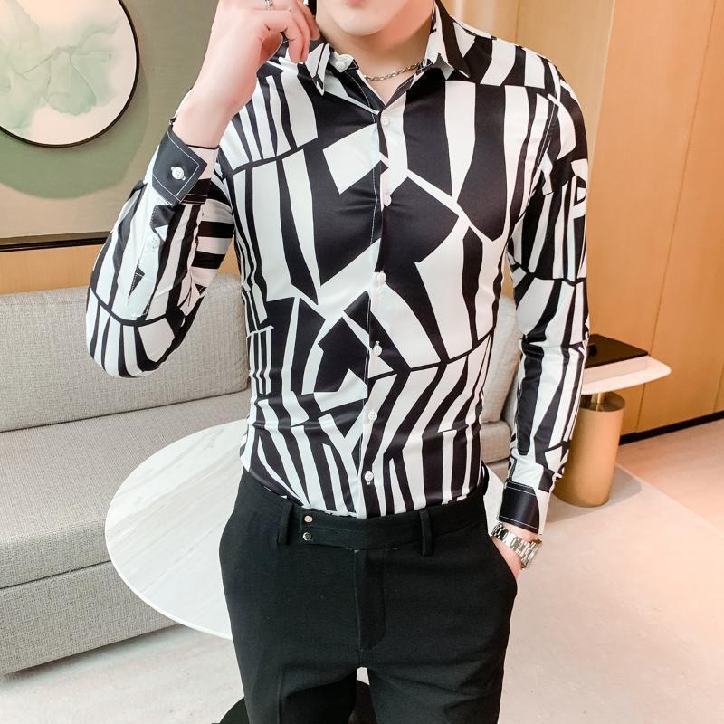 2020 Spring slim fit shirt casual per Fiore shirt vendita calda patchwork di colore Uomini uomo Night Club dallo smoking del vestito degli uomini di bellezza