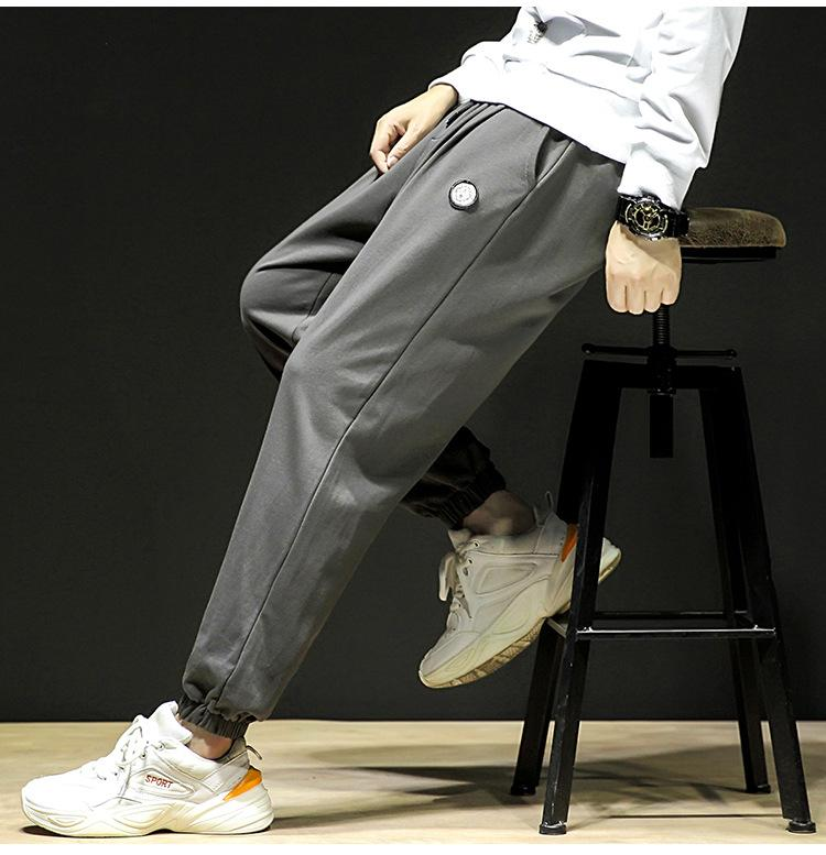 Mens Designer Pocket Pants Fashion Drawstring Regular Pants Mens Pure Color Full Length Pencil Pants Male Clothing