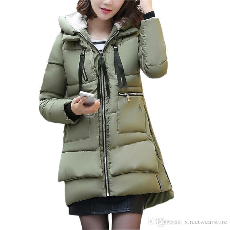 Fashion women New Solid Slim Long New Size For Women's Cotton Slim Down Parka With Hooded Winter Jacket Coat Female Korean
