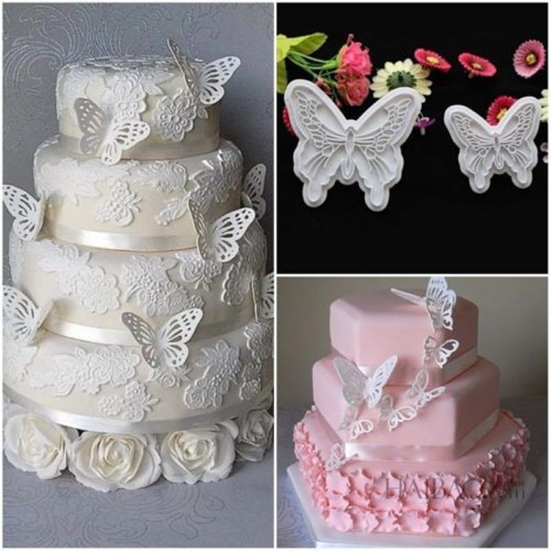 L'alta qualità di figura della farfalla 2 pc / lotto torta Mold 2 Misure di categoria alimentare di plastica che decora fondente biscotto taglierine del tuffatore fai da te cottura Stampi